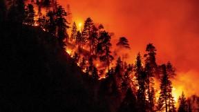 A California hillside burns