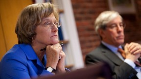 President Drew Faust and Senior  Fellow Robert D. Reischauer discussing the governance changes on December 5