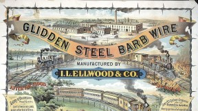 "The I.L. Ellwood Company used gleaming locomotives to highlight the advantages of its ""barb wire"" fencing."