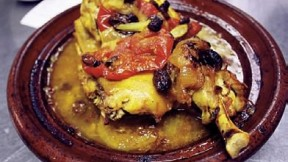 Moroccan roast chicken with onions, tomatoes, and raisins