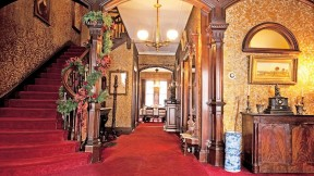 The Gibson House Museum's lavish entrance hall illustrates how an upper-class family lived in the early days of the Back Bay's development.