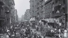 Photograph of American urban life, Mulberry Street, New York, c. 1900