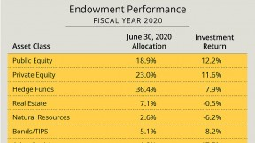 Exhibit showing Harvard Management Company investment returns by asset class in fiscal year 2020