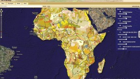 This map shows soil types for all of Africa. A researcher might use  it with other map layers to study agricultural productivity among  countries with similar soils, comparing, for example, the agrarian practices of Francophone and Anglophone countries.