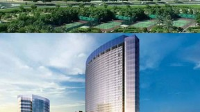 The Ibn Sina building in Dubai Healthcare City houses clinic space and medical and administrative offices (top). An artist's rendering of the university hospital (below) that will be part of the same complex; Harvard Medical International (HMI) advised in designing the 400-bed facility, projected to be completed in 2011.