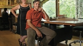 Julie Lineberger and Joseph Cincotta in the studio of their architectural firm.