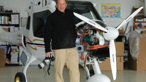 Alex MacLean with tools of his trade: a new fuel-efficient plane and his camera