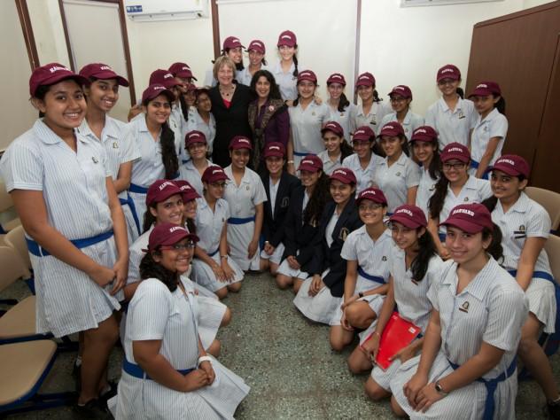 Harvard president Drew Faust visits the J.B. Petit High School for Girls in Mumbai, India.