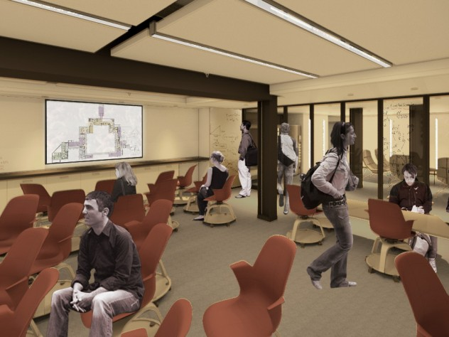 """A new """"smart"""" classroom on the lower level of Dunster House; in this schematic, a House floorplan is projected on the rear screen."""