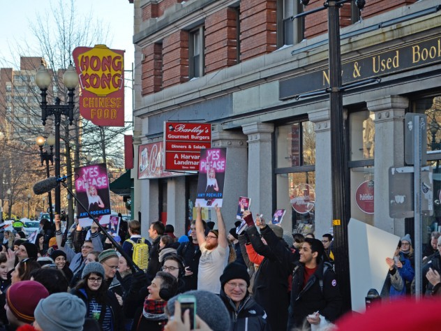 Fans chanted Poehler's name as they held up signs promoting her book, <i>Yes, Please </i>.