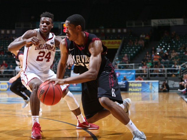 Agunwa Okolie '16 (shown here against Oklahoma) is the team's top perimeter defender. His performance was crucial to the team's success in Hawaii.