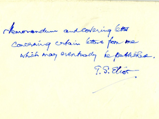 """Envelope with the handwritten words: """"To be opened only in accordance with the attached conditions"""""""