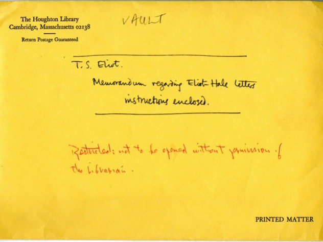 "An official Houghton envelope with the words: ""Memorandum regarding Eliot Hale letters, instructions enclosed."""