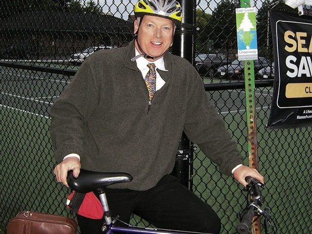 In Boston, David Read keeps fit and cuts pollution by cycling to work.