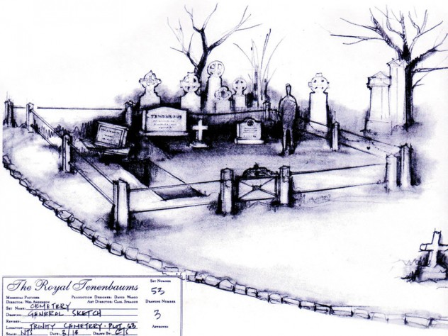 For the 2001 film <i>The Royal Tenenbaums,</i> Sprague sketched a graveyard that director Wes Anderson used in the movie.