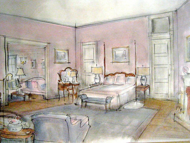Sprague's sketch for a bedroom set was realized in the film <i>The Last Harbor,</i> scheduled for release this year.