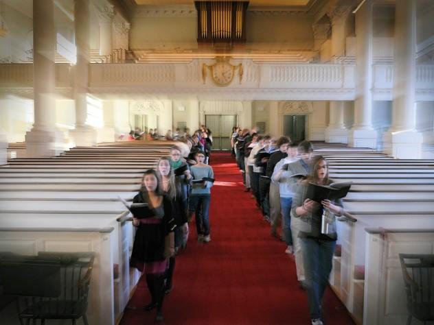 The Harvard University Choir sings at a dress rehearsal in Memorial Church.