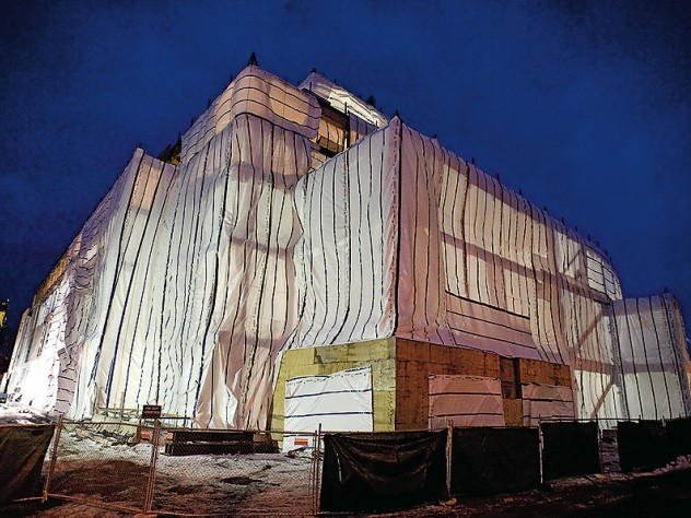 Midwinter work, under wraps, on the Law School's Northwest Corner building