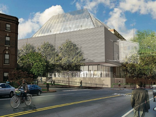 Rendering of the reconstructed Fogg Art Museum from Broadway at Prescott streets