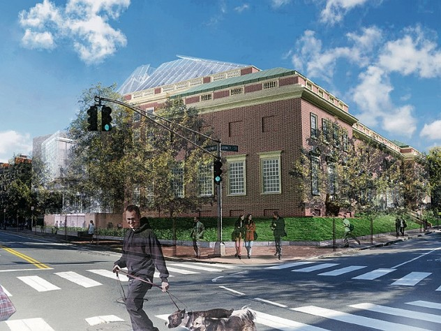 Rendering of the reconstructed Fogg Art Museum from Broadway and Quincy streets