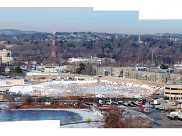 A panoramic view of Allston: the science site (center), Harvard stadium (right)