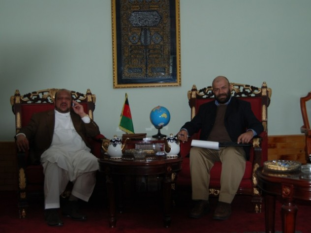 Farivar, at right, with Northern Alliance leader and vice president Marshal Fahim.