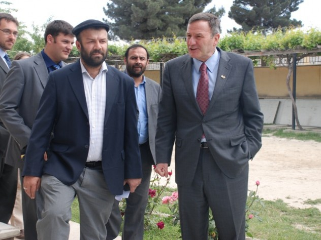 Farivar gives U.S. ambassador Karl Eickenberry a tour shortly after his arrival in Afghanistan.