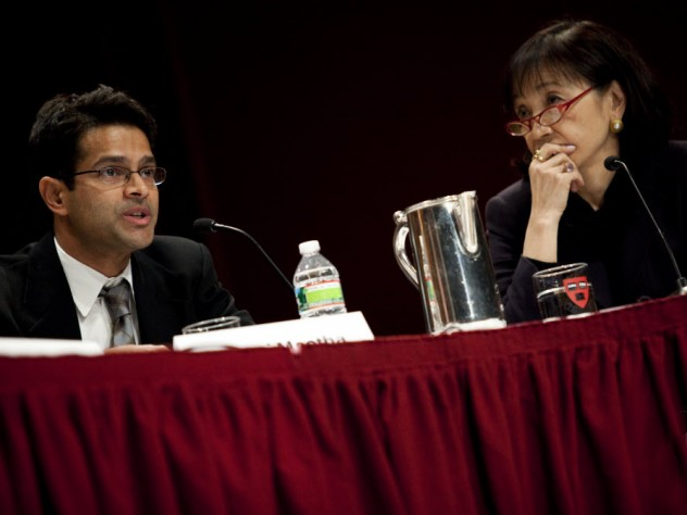 Vamsi Mootha and Vicki Sato, professor of the practice of molecular and cellular biology in the Faculty of Arts and Sciences and professor of management practice at Harvard Business School