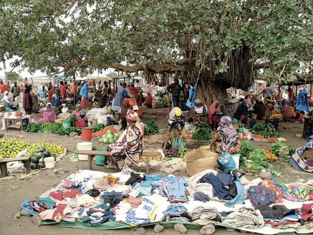 Farmers often have to travel several hours to reach a village market like this one, in King'ori, Tanzania.
