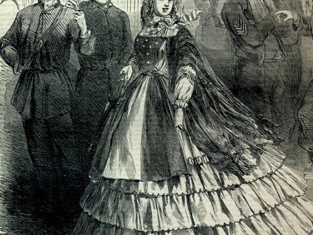 """A Baltimore """"Southern belle"""" shows her loyalties, wearing a dress sewn with a Confederate flag, <i>Harper's Weekly,</i> September 7, 1861"""