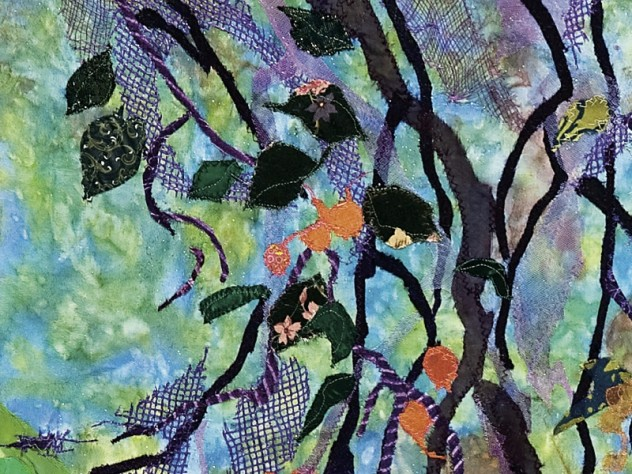 A detail of a collage by Merill Comeau at the Arnold Arboretum