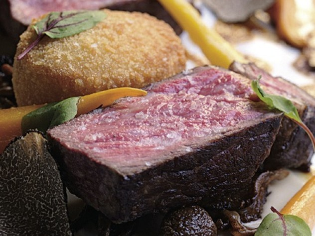 New York strip beef with croquettes