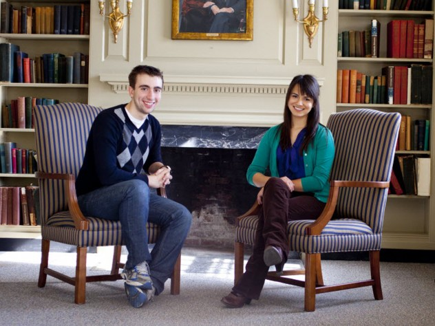 Matt Chuchul '13 and Suzanna Bobadilla '13 were the primary student organizers of an exhibit and panel at Pforzheimer House recalling the co-housing experiment of 1970, the first time men and women lived side by side in the Houses.