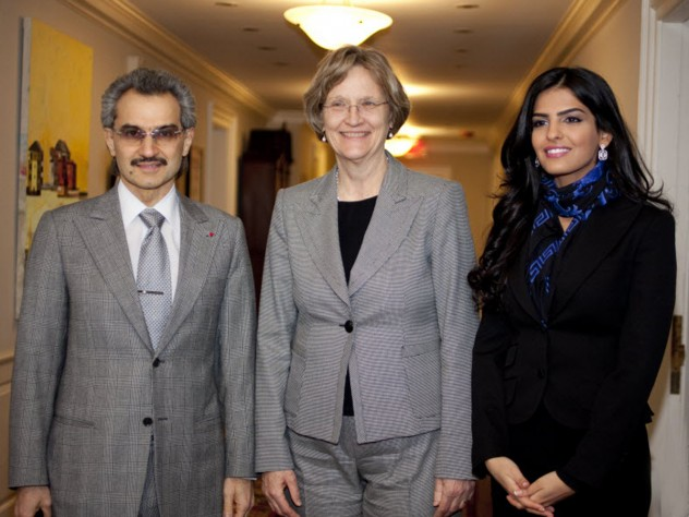 President Drew Faust (center) with Saudi Arabia's Prince Alwaleed bin Talal, funder of Harvard's Islamic studies program, and his wife, Princess al-Taweel.