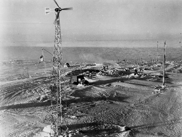 """A Jacobs """"wind machine"""" in Antarctica in 1934, imported by Admiral Richard Byrd for use in his base camp"""