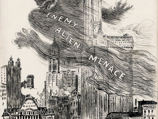 "The ""Enemy Alien Menace"" looms over lower Manhattan: The <i>New York Herald,</i> March 28, 1918; cartoon by W.A. Rogers"