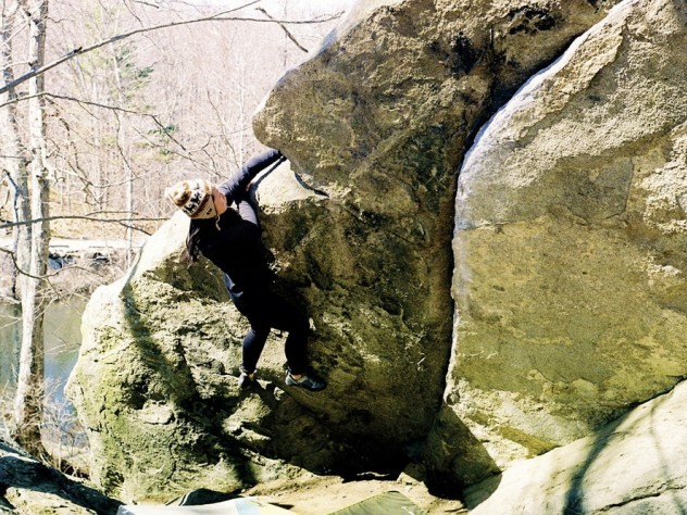 "Athena Jiang '11, of the Harvard Mountaineering Club, takes on ""The Wave"" while bouldering in Lincoln Woods, near Providence, Rhode Island."