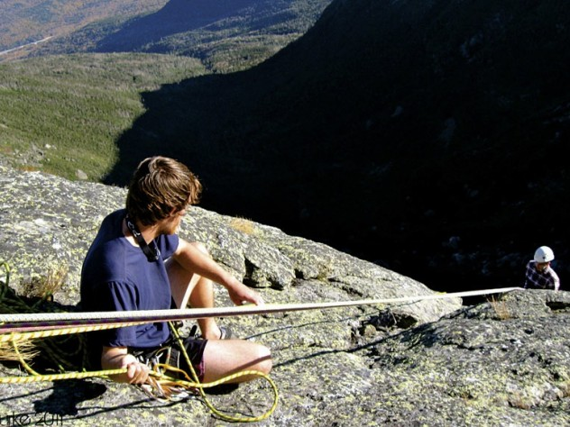 Sam Brotherton '12 belaying at the top of the Henderson Ridge on Mount Washington during a Mountaineering Club trip