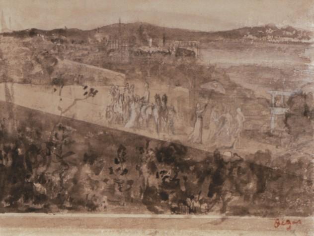 Degas, <i>Cortège aux Environs de Florence</i>. Pencil and wash on paper, 16 x 21 cm.