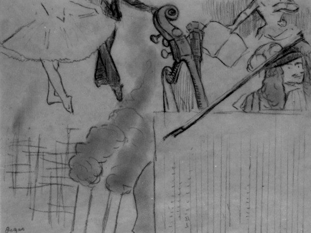 Degas, <i>Program for an artistic soirée,</i> 1884. A less-finished version of the previous work, charcoal on buff paper, 23.4 x 30 cm.
