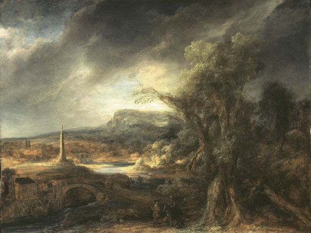 """Govaert Flinck, <i>Landscape with an Obelisk, </i>1638. Oil on oak panel, 54.5 x 71 cm. Inscribed faintly at the foot on the right: R. 16.8 (until recently attributed to Rembrandt). Long attributed to Rembrandt, this work was recognized in the 1980s as the work of his pupil, Govaert Flinck. Of Rembrandt, Isabella Gardner wrote to her friend and advisor: """"I really don't adore Rembrandt. I only like him."""" Gardner placed this work on a table alongside a window, opposite Vermeer's <i>The Concert</i>."""