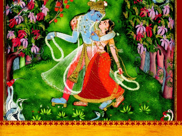 """The cover image reproduces a sacred scene in a sacred landscape: """"Radha and Krishna Walk in a Flowering Grove,"""" Kota Master, 18th century"""
