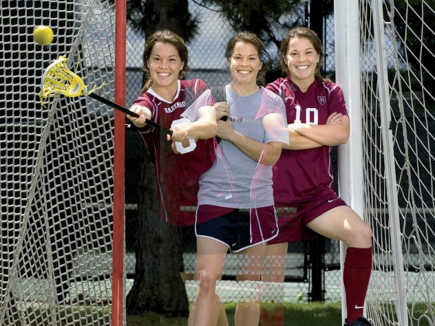 Triple image of a double threat: Baskind stands between her two sports' goals