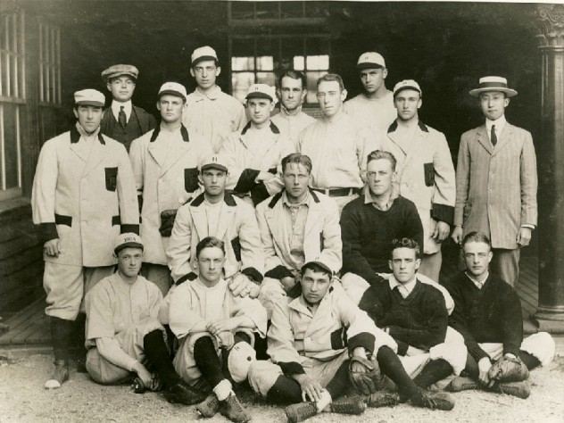 Harvard's 1912 baseball team. Wingate (front at left, holding cap) was Fenway's first batter.