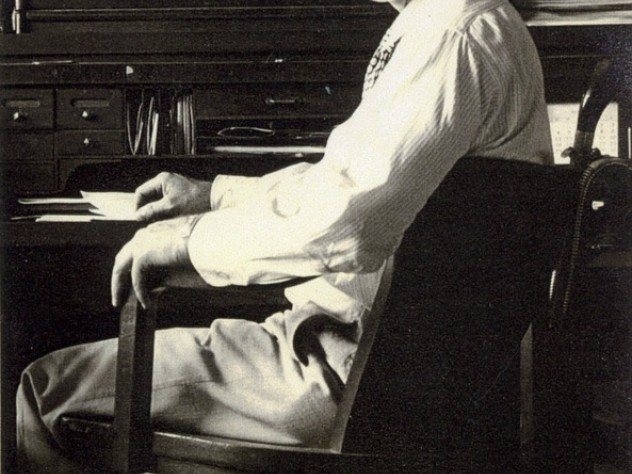 Marcellus Jacobs in his office at the Jacobs Wind Electric Factory