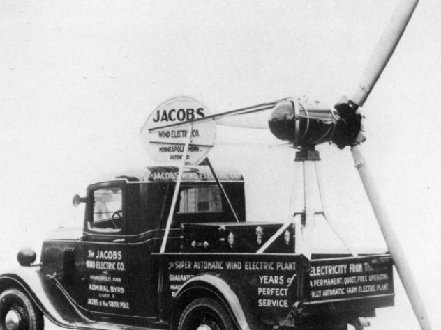 This truck-mounted turbine visited county fairs and small towns to publicize Jacobs products.