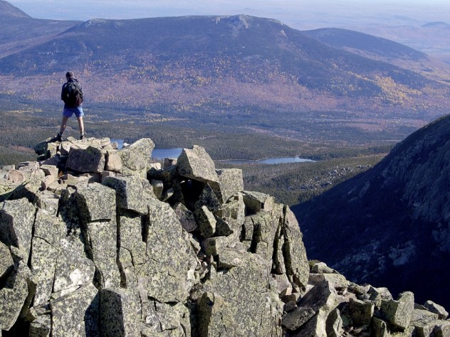 Maine's Baxter State Park offers rigorous climbs and majestic views, as seen above on First Cathedral.