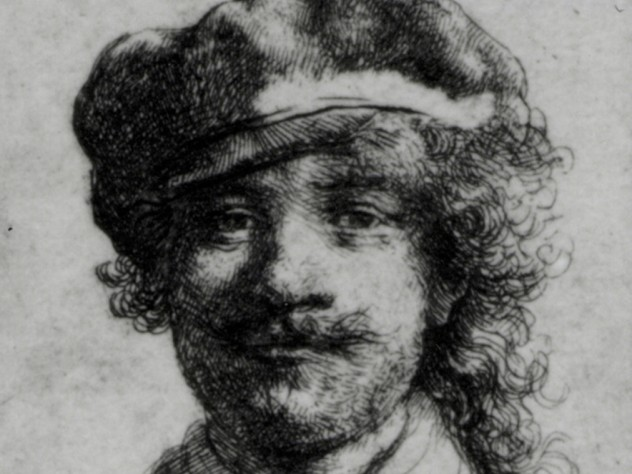 Rembrandt, <i>Self-Portrait,</i> ca. 1634. Etching, 1 3/4 x 2 in. A small etching nearly the size of a postage stamp, also referred to as <i>Portrait of the Artist as a Young Man</i>, it was completed in 1633 when the artist was 27 years of age. The small work was affixed to the side of a carved oak cabinet in the Dutch Room beneath Rembrandt's painted <i>Self-Portrait of 1629</i>.