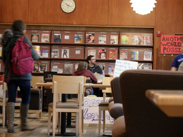 The protesters vowed to remain in Lamont Café until Friday, February 17.