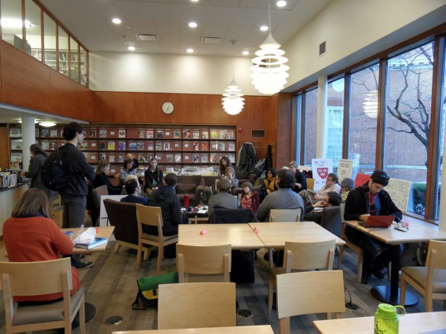 """Protestors held a """"Think Tank"""" Monday to discuss questions such as """"What is a Library?"""" and """"What does the library of the future look like?"""""""